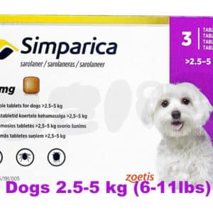 for Dogs 2.5-5 kg (6-11lbs) simparica Flea control online pet pharmacy