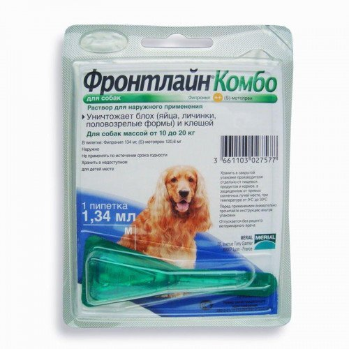 Fleas and Ticks Control for dogs M size, 10-20 kg (22-44lb) - 1pip