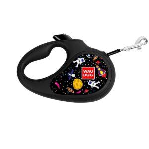 "Collar-Leash roulette WAUDOG Design patterned ""NASA"" - M 25 kg, 5 meters tape"