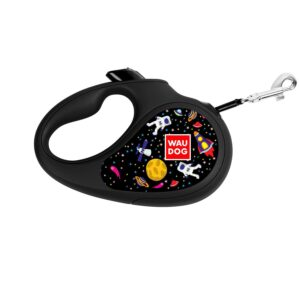 "Collar-Leash roulette WAUDOG Design patterned ""NASA"" - HS 12 kg, tape 3 meters"