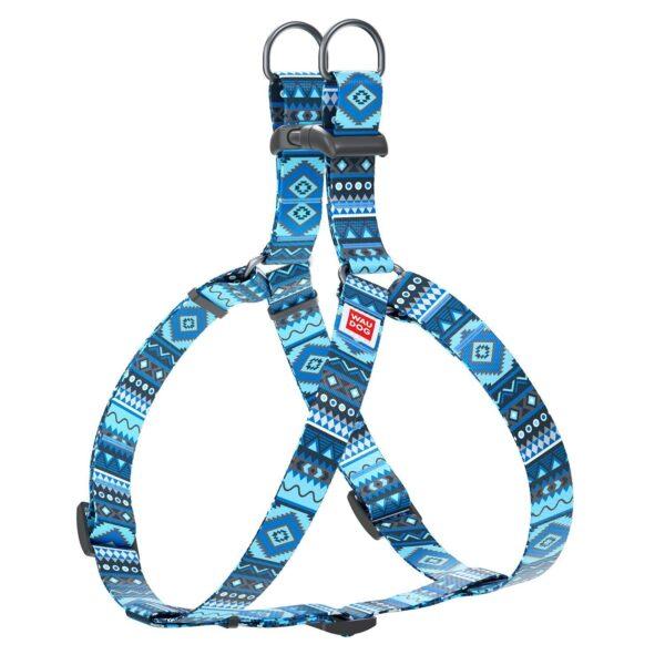 "Collar Harness WAUDOG Nylon patterned ""Ethno blue"""